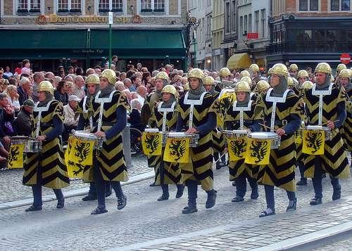 Recreación de la batalla en Kortrijk